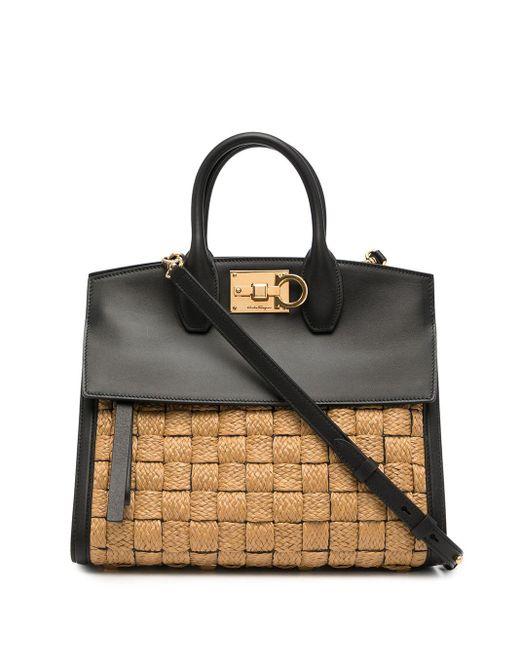Ferragamo Brown Small Studio Damier Bag