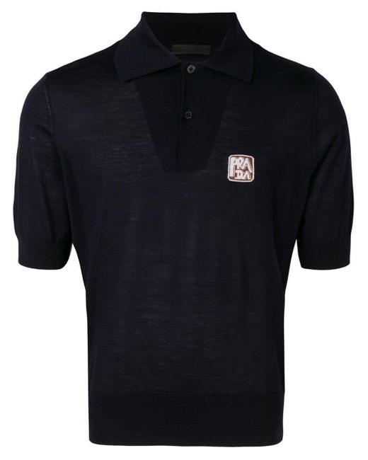 Prada Poloshirt mit Logo in Blue für Herren