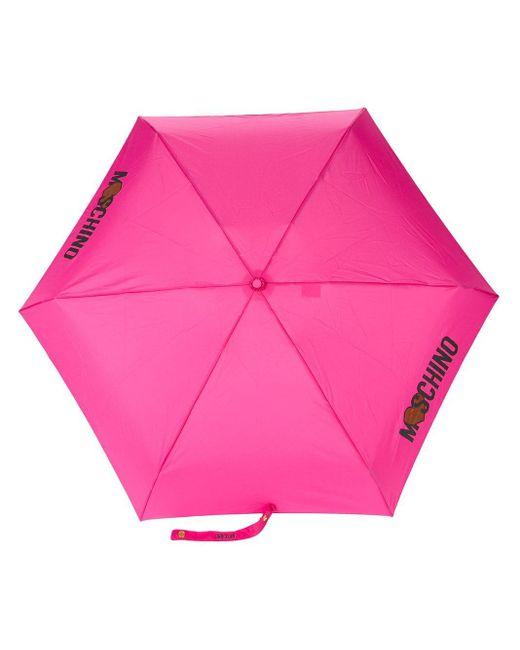 Moschino ロゴプリント 折り畳み傘 Pink