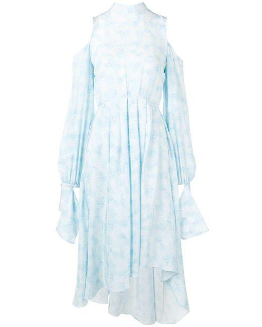 ROKH オープンショルダー ドレス Blue