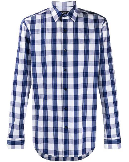 メンズ BOSS チェック シャツ Blue