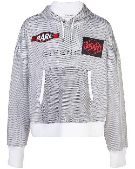 メンズ Givenchy ロゴ メッシュ パーカー White