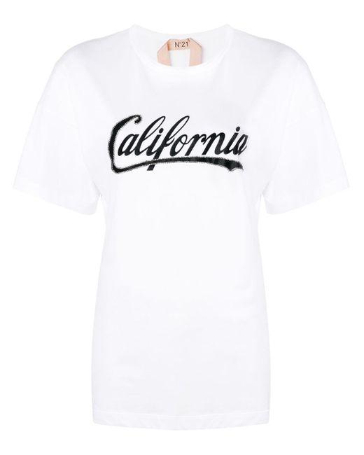 N°21 Camiseta con estampado California de mujer de color blanco Qux8o