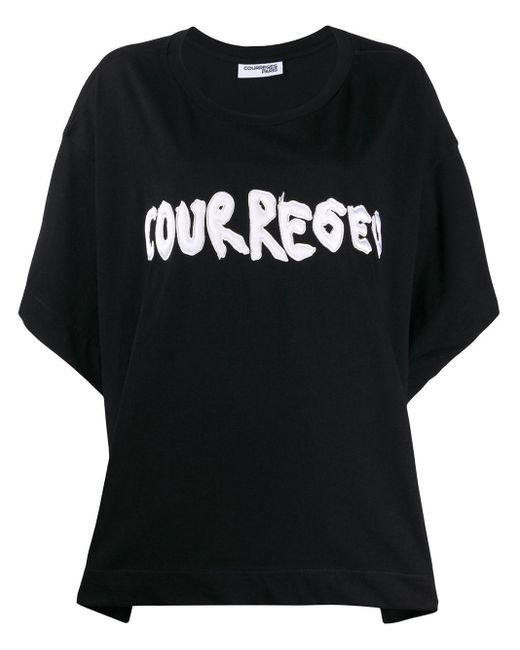 Courreges Camiseta estilo boxy con aplique de logo de mujer de color negro 0Xrf9