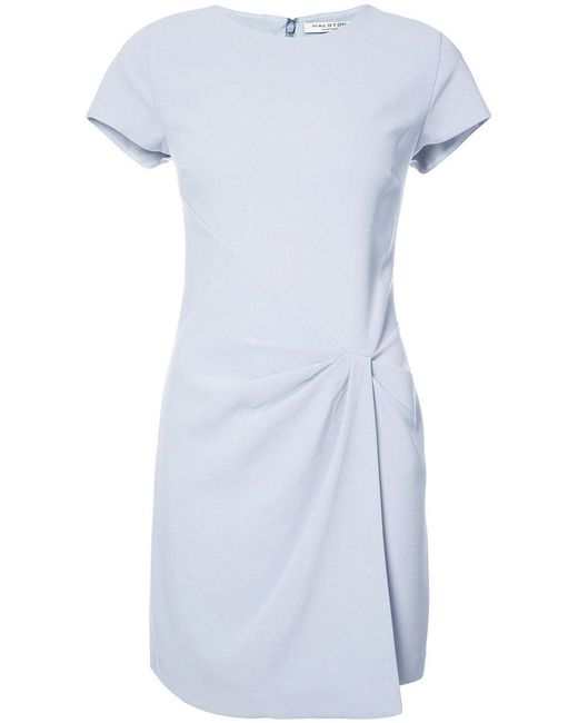 Lyst halston heritage gathered detail t shirt dress in blue for Halston heritage shirt dress