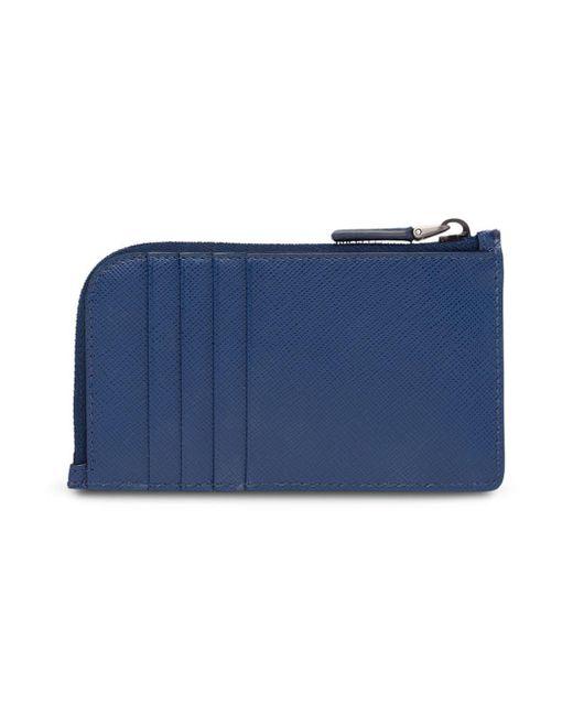 14193c586a87 ... Prada - Blue Zipped Cardholder Wallet for Men - Lyst ...