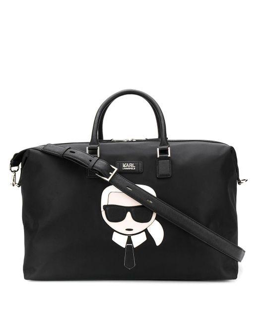 Karl Lagerfeld K/ikonik ナイロン ウィークエンダーバッグ Black