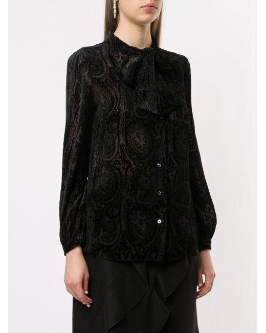 Devoré paisley blouse Paule Ka en coloris Black