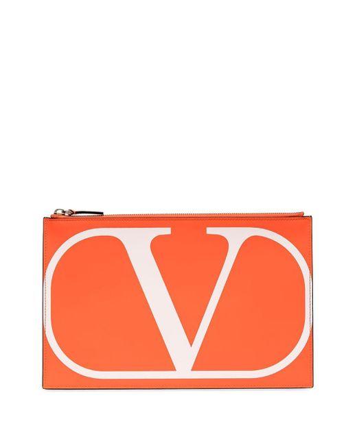 Valentino Garavani Vロゴ レザーポーチ Orange