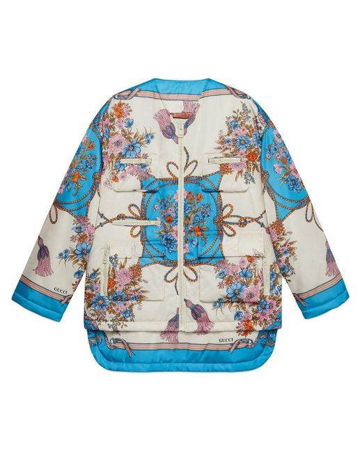 Gucci White Padded Nylon Jacket With Flowers And Tassels