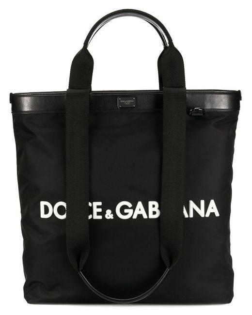 Dolce & Gabbana Black Logo Shopping Tote for men
