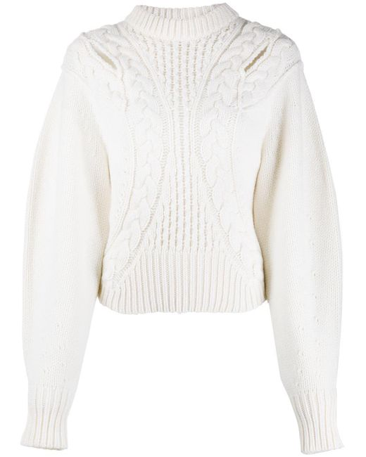 Alexander McQueen White Cut-out Cable Knit Jumper