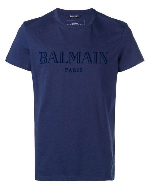 メンズ Balmain ロゴ Tシャツ Blue