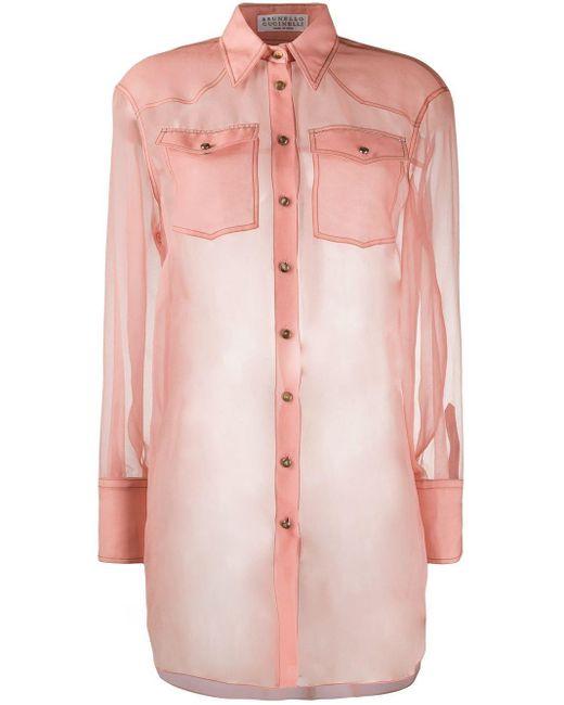 Прозрачная Блузка С Длинными Рукавами Brunello Cucinelli, цвет: Pink