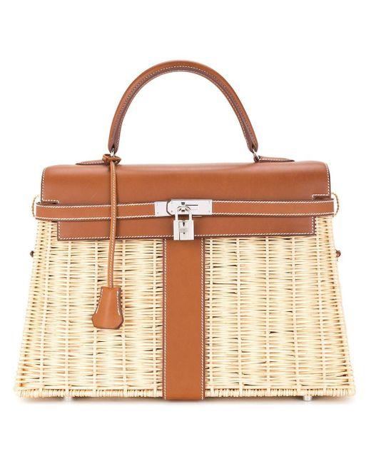 Hermès プレオウンド ケリー ピクニック ハンドバッグ Brown
