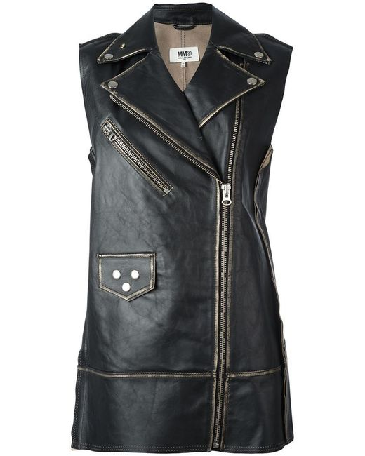 MM6 by Maison Martin Margiela | Black Elongated Biker Jacket | Lyst
