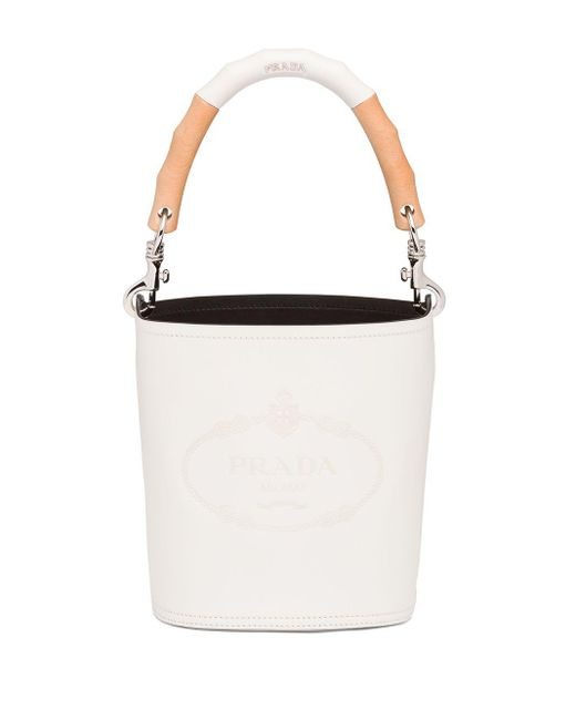 Prada Leather Bucket Bag With Wooden Handle White