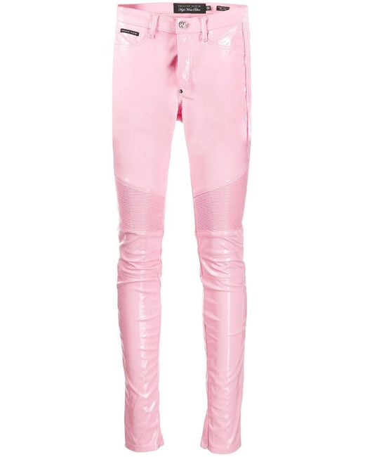 Philipp Plein ハイウエスト バイカーパンツ Pink