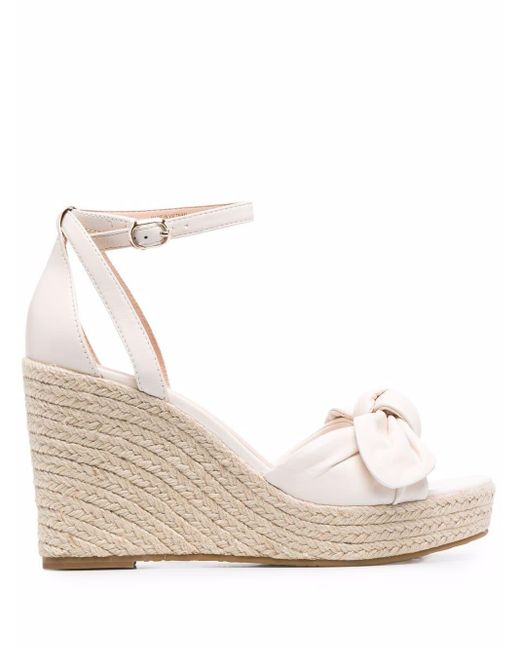 Kate Spade White Bow-detail Wedge-heel Sandals