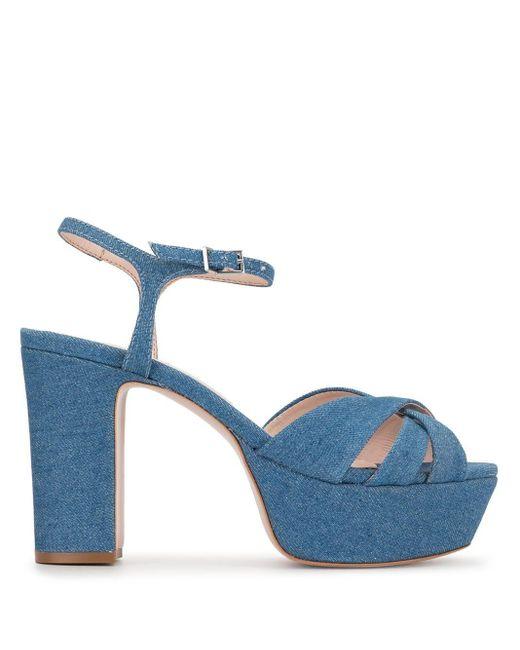 Schutz Sandalias vaqueras con plataforma de mujer de color azul