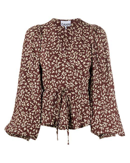 Блузка С Запахом И Цветочным Принтом Ganni, цвет: Brown