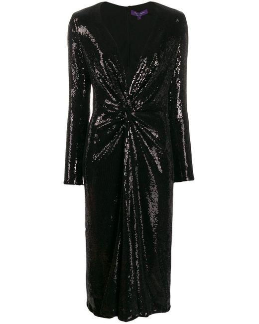 Ralph Lauren Collection スパンコール ミディドレス Black