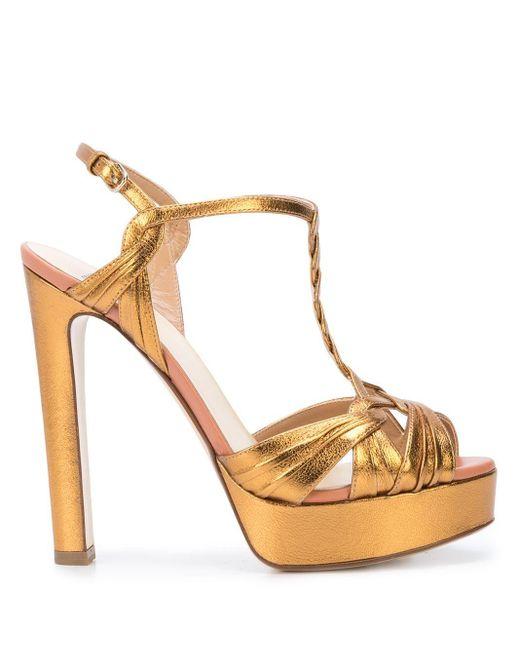 Sandales à plateforme Francesco Russo en coloris Metallic