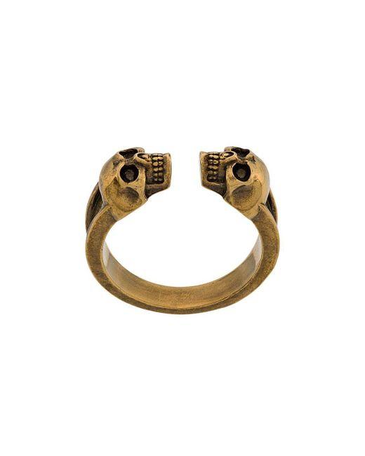 Alexander McQueen Metallic Ring mit Totenkopfmotiv