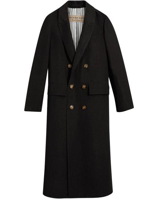 Burberry Linen Silk Tailored Coat in het Black