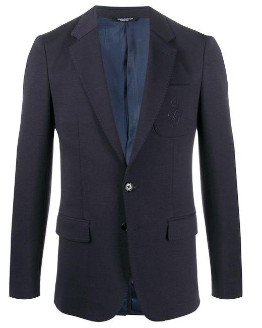 メンズ Dolce & Gabbana ロゴ シングルジャケット Blue