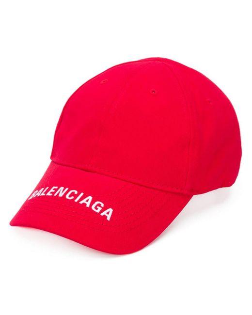 メンズ Balenciaga ロゴ キャップ Red