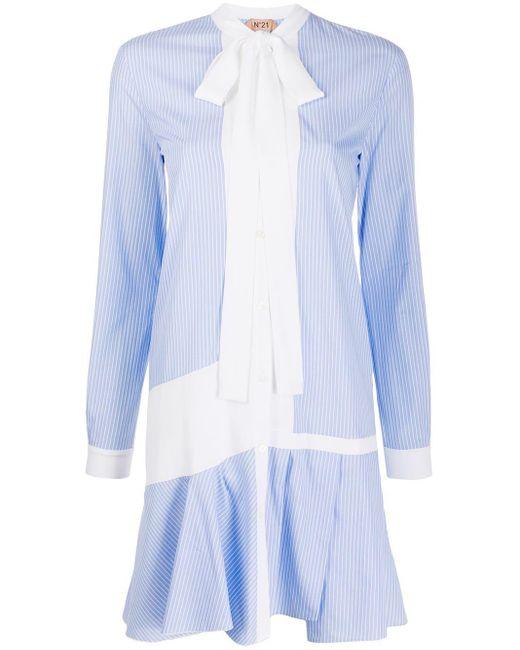 N°21 ボウタイ シャツドレス Blue