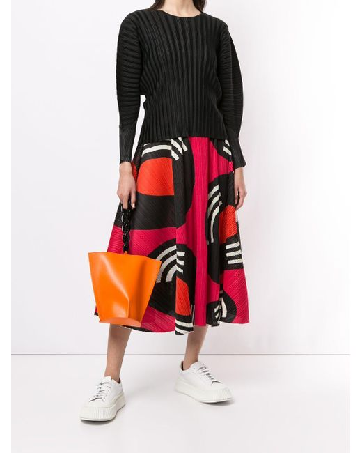 Pleats Please Issey Miyake プリント プリーツスカート Red