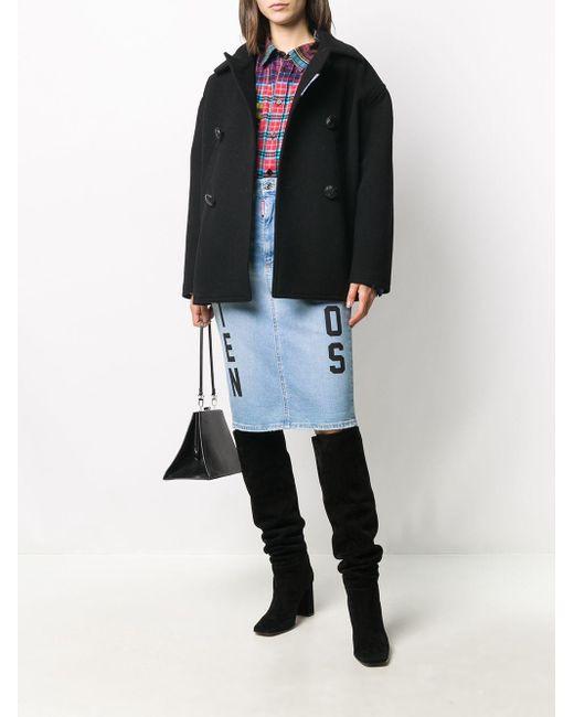 DSquared² Blue Slogan-print Denim Skirt