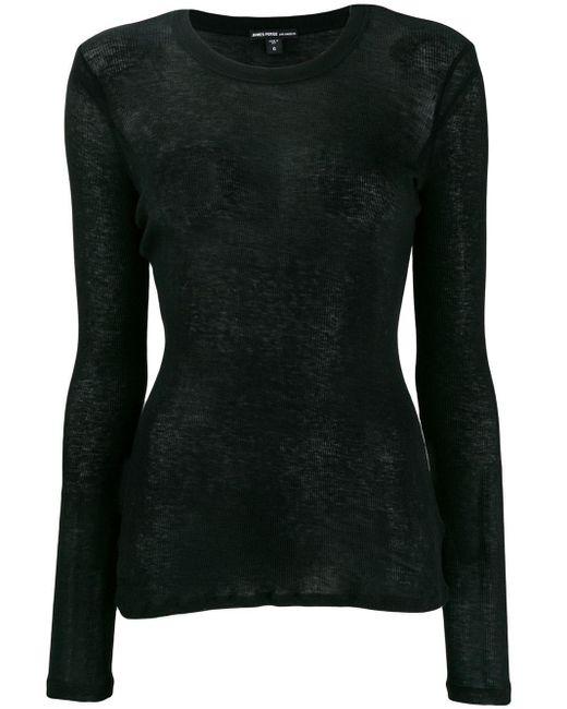 James Perse Black Fine Knit Sweater
