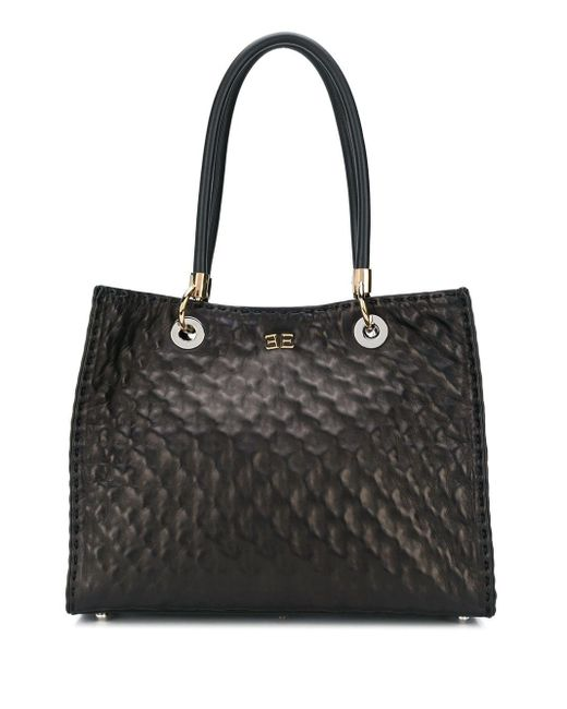Ermanno Scervino Black Quilted Effect Tote Bag