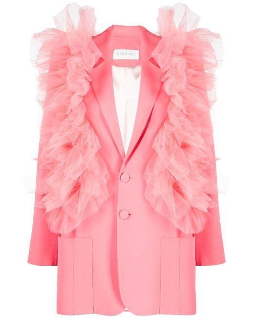 Loulou ラッフル シングルジャケット Pink