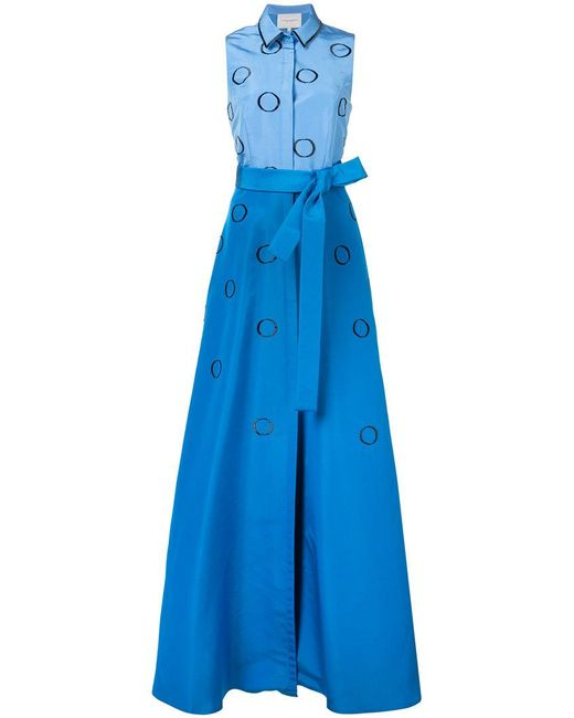 Carolina Herrera | Blue Embroidered Faille Shirt Gown | Lyst