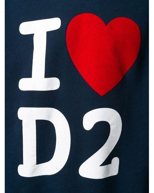 メンズ DSquared² I Love D2 パーカー Blue