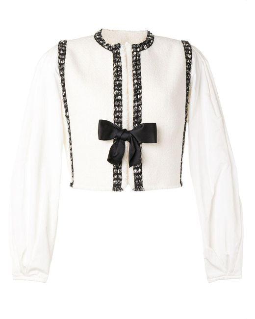 Giambattista Valli White Textured Knit Jacket With Balloon Sleeves