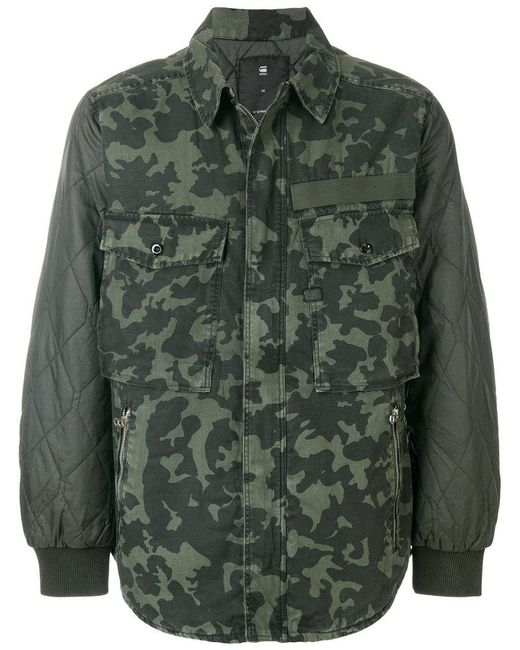 g star raw camouflage print jacket in green for men lyst. Black Bedroom Furniture Sets. Home Design Ideas