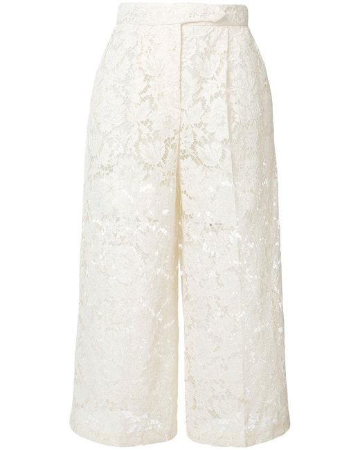 Valentino - Natural Sheer Lace Cropped Trousers - Lyst