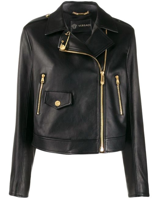 Versace クロップド ライダースジャケット Black