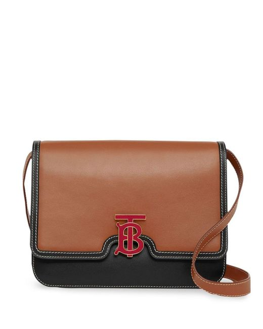 Burberry Tb レザーバッグ M Brown