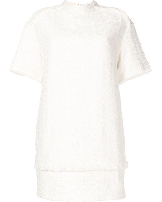 PROENZA SCHOULER WHITE LABEL ツイード フレイド ミニドレス White