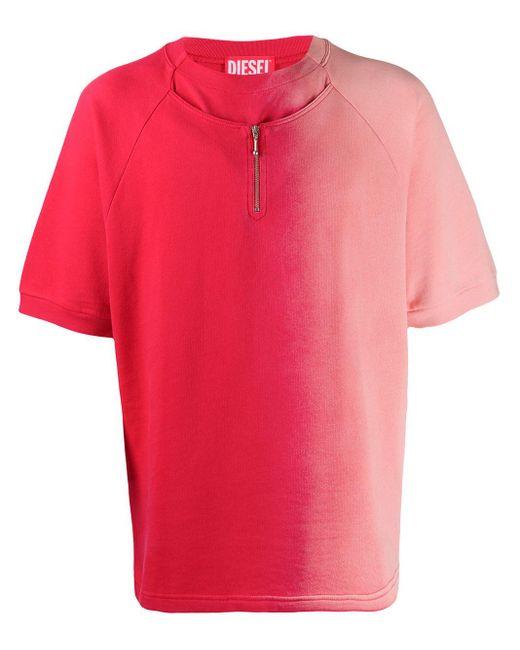 メンズ Diesel Red Tag ハーフジップ Tシャツ Pink