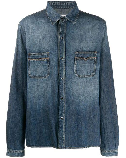 Saint Laurent Blue Faded Denim Shirt for men