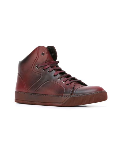 Lanvin High Top Spray Paint Trainers In Red For Men Lyst