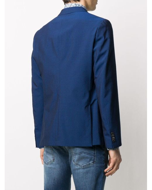 メンズ BOSS by Hugo Boss ストライプ シングルジャケット Blue