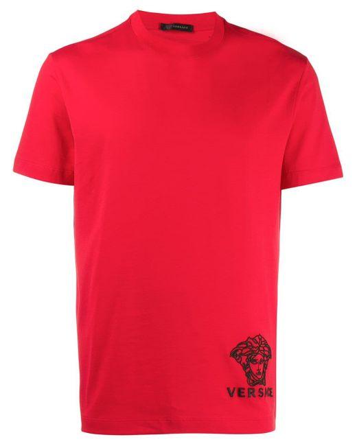 メンズ Versace メデューサ Tシャツ Red